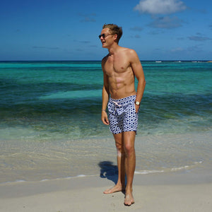 Mens swim trunks : LIFE RING - NAVY designer Lotty B Mustique fashion