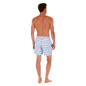 Mens swim trunks : MUSTIQUE MULE - RED back. Comfortable, practical & stylish