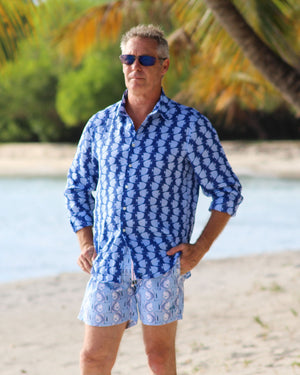 Mens Linen Shirt : FISH - AIRFORCE BLUE. Designer Lotty B for Pink House Mustique mens summer style