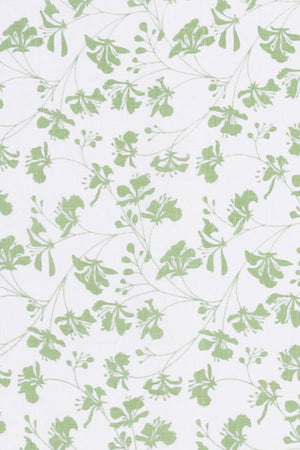 FLAMBOYANT FLOWER - GREEN fabric swatch, designer Lotty B Mustique vacation style