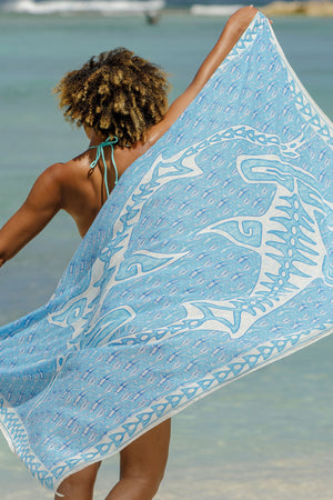 Lotty B Sarong in Cotton (Shark, Blue) Mustique beach life