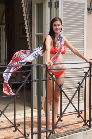 Sarong in Silk Chiffon: FAN PALM - NAVY / RED Mustique style scarf