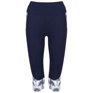 Contour panel cropped leggings : FAN PALM NAVY Designer Lotty B for Pink House Mustique (front)
