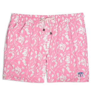 Mens Trunks (Hibiscus, Pink) Front