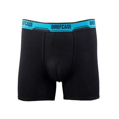 BRIEFCASE MEN'S SINGLE BOXER BRIEFS WITH INTERNAL POUCH - BLACK