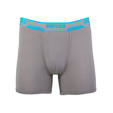 BRIEFCASE MEN'S SINGLE BOXER BRIEFS WITH INTERNAL POUCH - GREY
