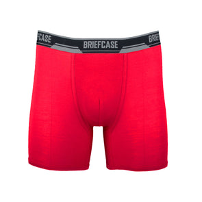 BRIEFCASE MEN'S SINGLE BOXER BRIEFS WITH INTERNAL POUCH - RED