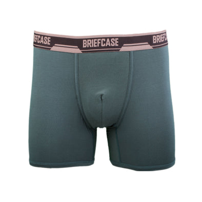 BRIEFCASE MEN'S SINGLE BOXER BRIEFS WITH INTERNAL POUCH - GREEN