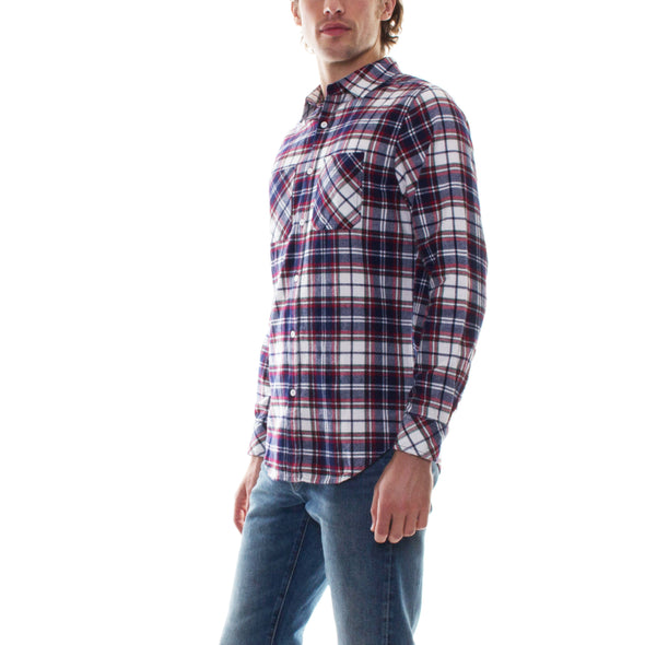 FLANNEL SHIRT - NAVY/RED