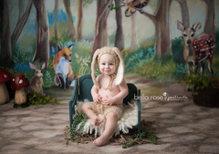 Spring Photography Backdrop | Woodland Critters