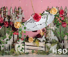Photography Backdrop Background | Umbrellas and Blooms
