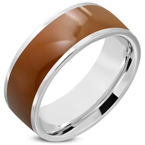 2-Tone Brown Enameled Comfort Fit Half-Round Band Ring