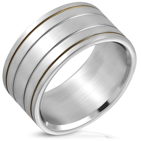 2-Tone Grooved Wide Flat Band Ring