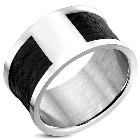 Band Ring With Black Leather
