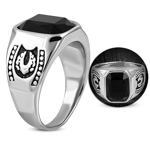 Bezel-Set Square Biker Ring With Black Glass Stone