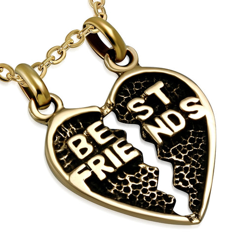 Bronze Best Friends Broken Heart Pendant - Pendants - Rebelroad.co.za
