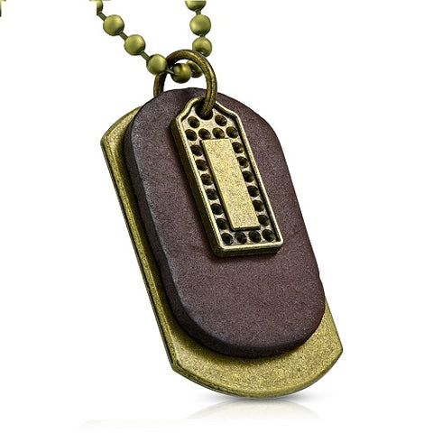 Brown Leather Tag Charm Military Ball Link Chain Necklace - Neckwear - Rebelroad.co.za