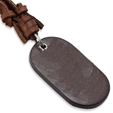 Brown Leather Tag Necklace - Neckwear - Rebelroad.co.za