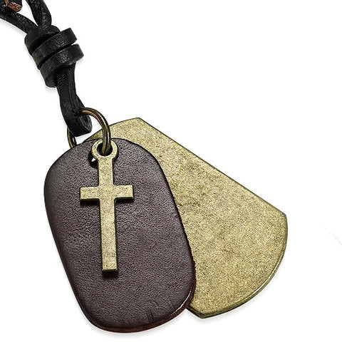 Brown Tag Cross Charm Black Leather Cord Necklace - Neckwear - Rebelroad.co.za
