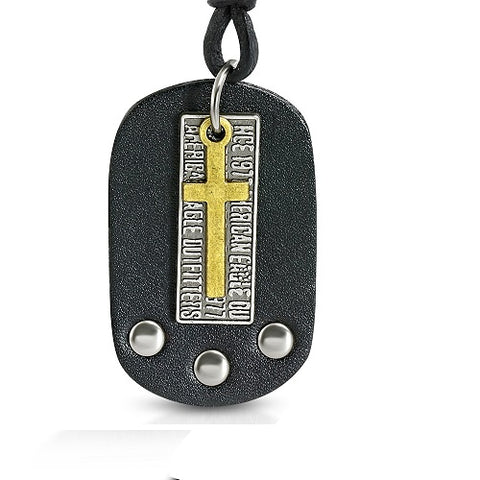 Cross Tag Charm Black Leather Necklace - Neckwear - Rebelroad.co.za