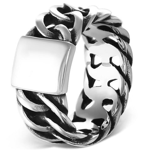 Cuban Curb Link Biker Ring