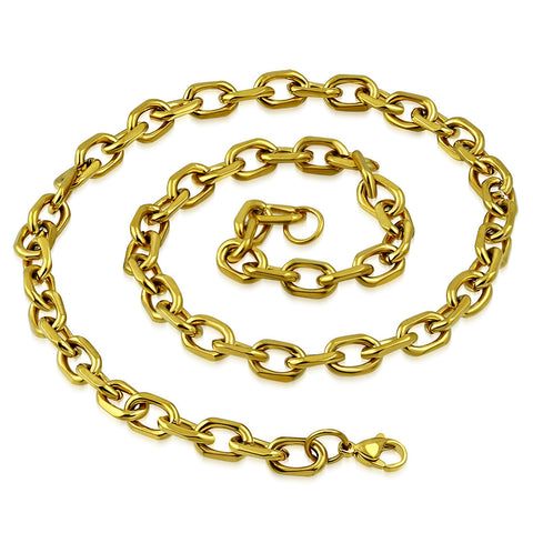 Gold Color Marine Link Chain Necklace