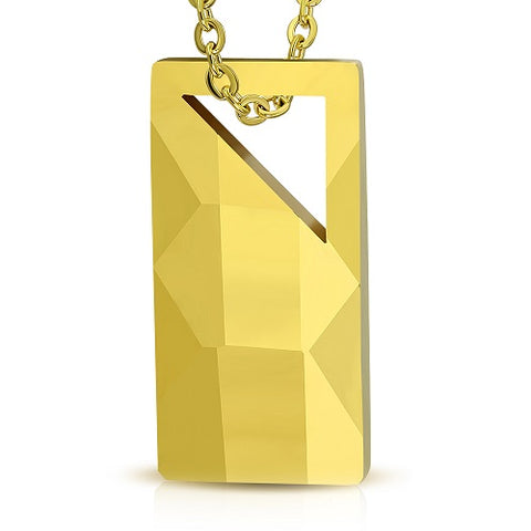 Gold Color Plated Tungsten Carbide Faceted Tag Pendant - Pendants - Rebelroad.co.za