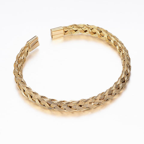 Gold Tone Braided Wire Cuff Stainless Steel Bracelet - Bracelets - Rebel Road