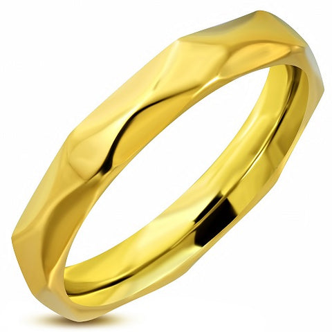 Golden Faceted Comfort Fit Half-Round Band Ring
