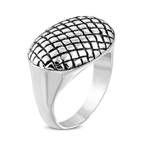 Grid Geometric Oval Biker Ring