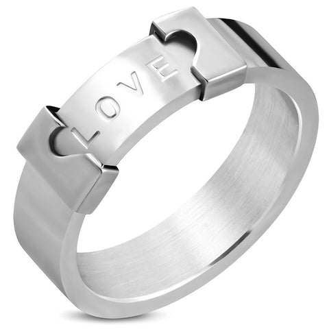 Love Monogram Apart Heart Band Ring