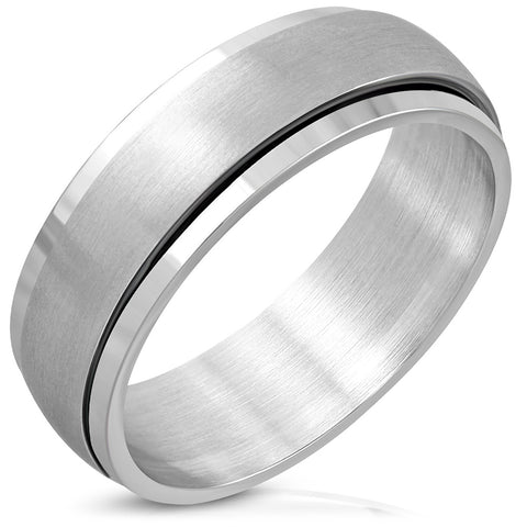 Matte Finished Spinning Half-Round Band Ring