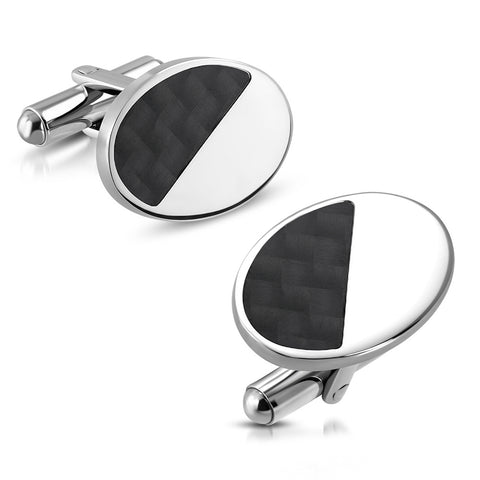 Oval Cufflinks With Carbon Fiber Inlay
