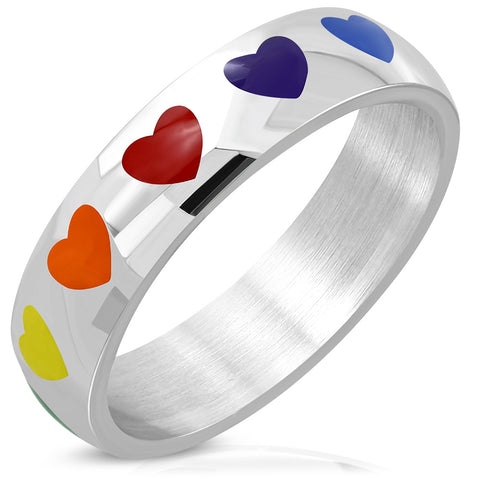 Rainbow Love Heart Half-Flat Band Ring