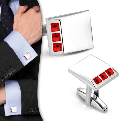 Rectangle Cufflinks With Red CZ stones