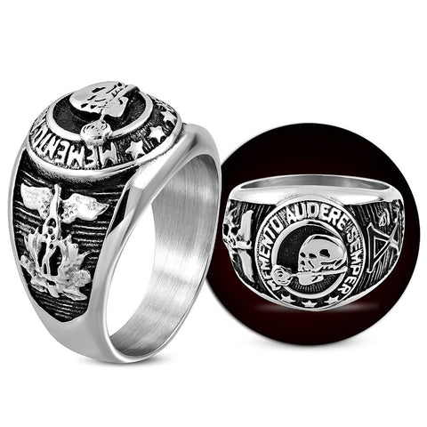 Skull Rose Eagle Signet Biker Ring