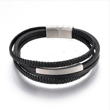 Stacked Black & Steel-Tone Weaved Leather ID Bracelet - Bracelets - Rebelroad.co.za