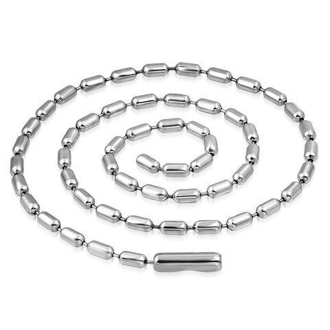 Thick Stainless Steel Military Oval Link Chain Necklace