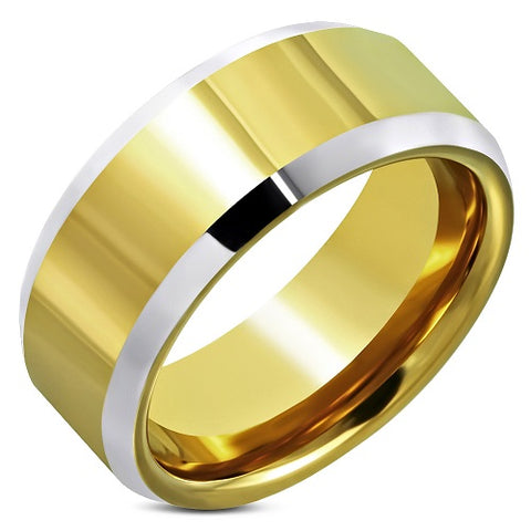 Tungsten Carbide 2-Tone Beveled Edge Wedding Band Ring