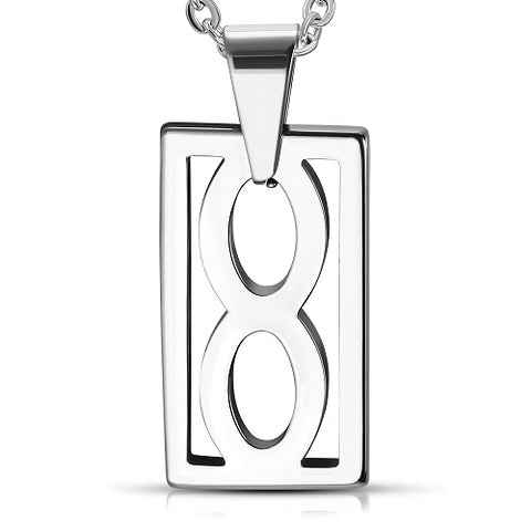 Tungsten Carbide Cut-out Infinity Tag Charm Pendant