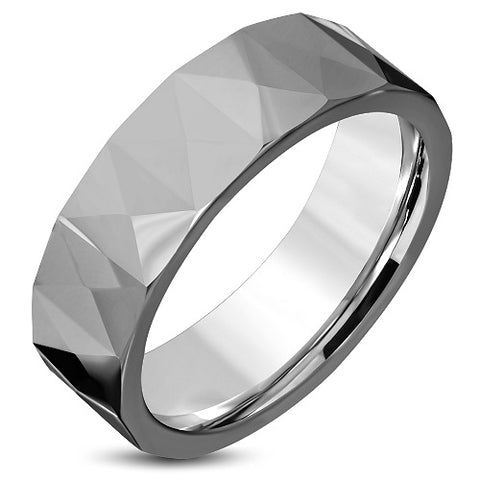 Tungsten Carbide Faceted Comfort Band Ring