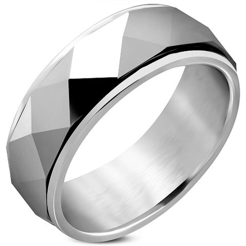 Tungsten Faceted Dome Pyramid Spinning Half-Round Band Ring