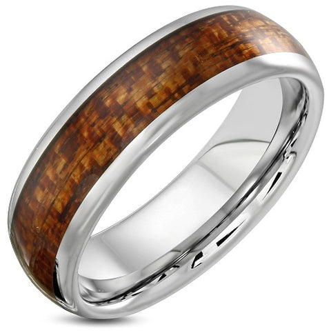 Tungsten Half-Round Wood Inlay Ring