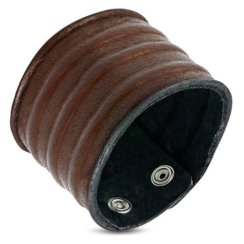 Wide Ribbed Brown Leather Wristband Bracelet