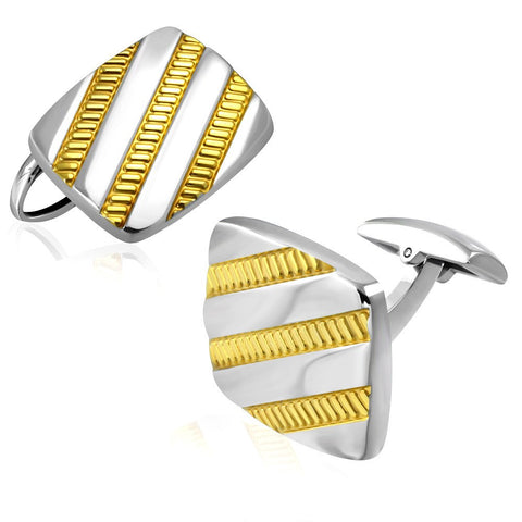 Stainless Steel 2-tone Diagonal Stripe Rectangle Cufflinks - Cuff Links - Rebel Road