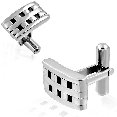 Stainless Steel 2-tone Grid/ Checker Rectangle Cufflinks - Cuff Links - Rebel Road