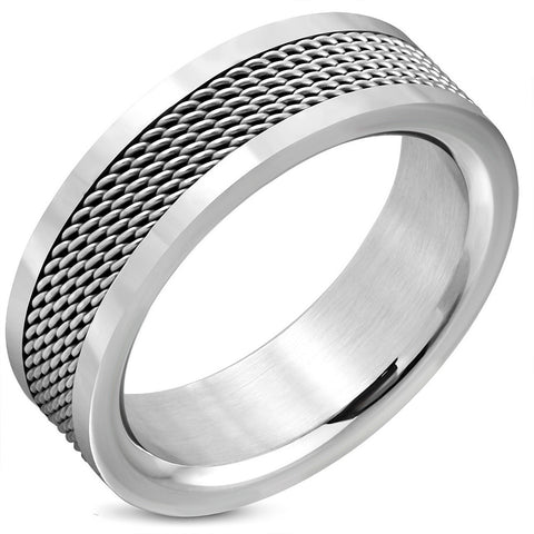 Stainless Steel Mesh Flat Band Ring - Rings - Rebel Road