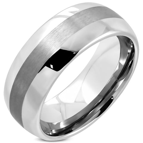 Tungsten Carbide Satin Finished Polished Ring - Rings - Rebel Road