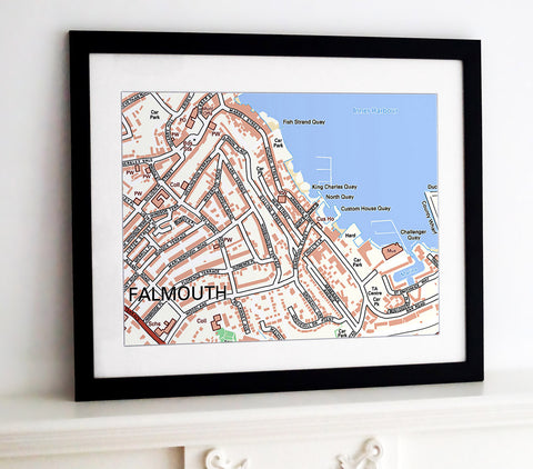 Framed Map - Custom Ordnance Survey Street Map - Classic