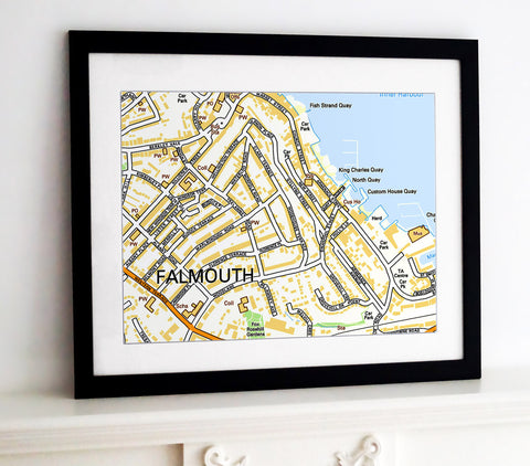 Framed Map - Custom Ordnance Survey Street Map
